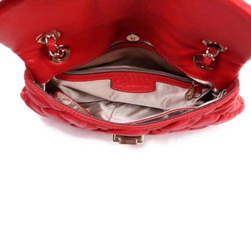 红色牛皮两用女士软皮包