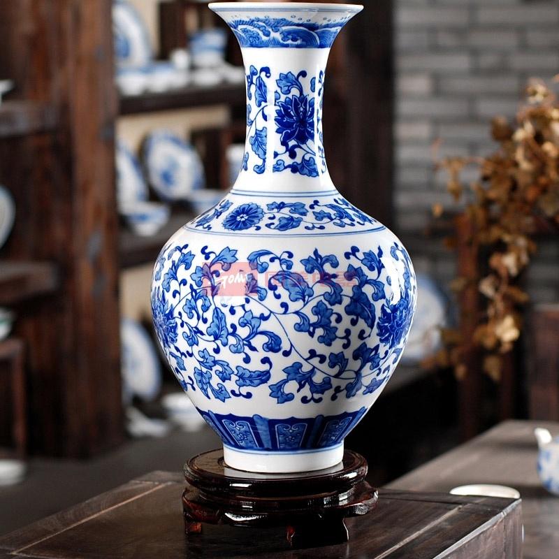 御雕坊 景德镇陶瓷器 仿古缠枝莲青花瓷花瓶 古典家居