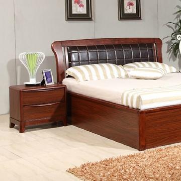 御品工匠 乌金木色实木床头柜 简约现代家具 床边柜 收纳柜k0556