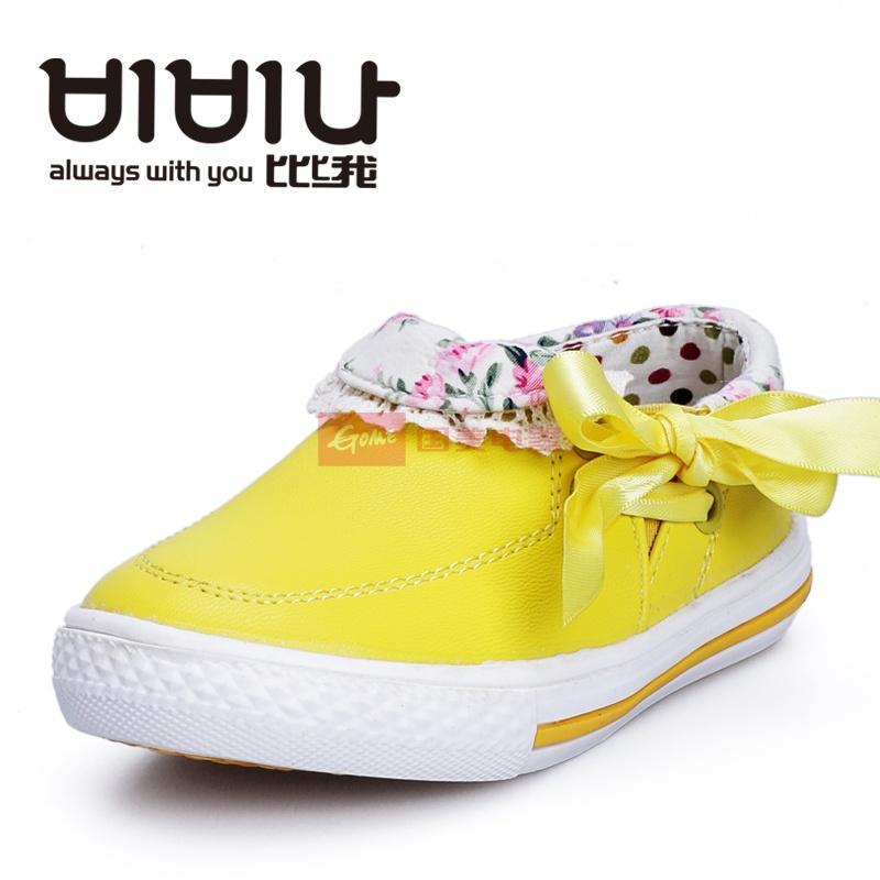 韩国比比我正品 儿童单鞋蝴蝶结套口可爱花边帆布鞋c0910-120(黄色 24