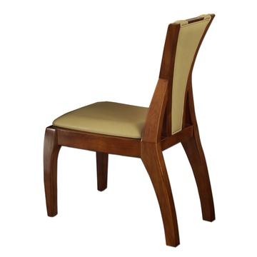 东南亚风格新中式纯实木楸木雕花皮餐椅