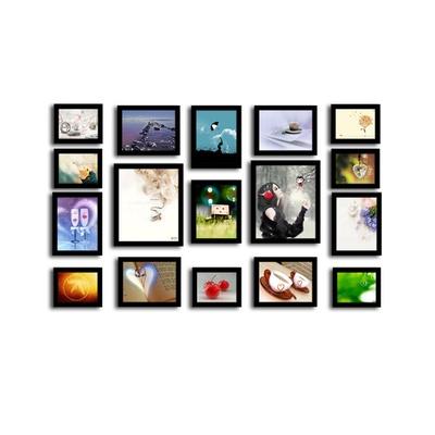 17框精美照片墙 欧式创意组合相框墙 毕业照相片墙(黑色)