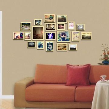 20框精美照片墙 欧式创意组合相框墙毕业照相片墙(原木色)