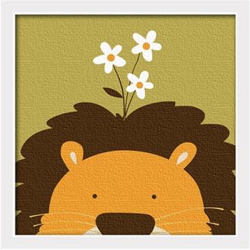华庭丽娜diy数字油画 20x20 动物连连看-狮子 学习绘画简单容易画