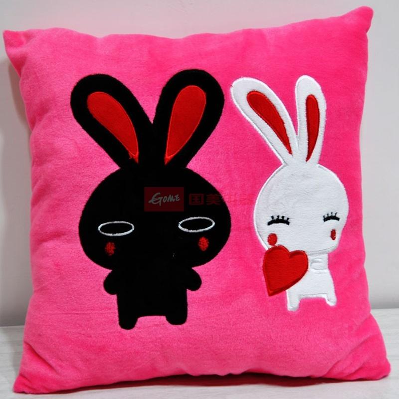抱枕 靠垫 枕头 枕芯办公室可爱 卡通绣花靠垫抱枕 38*38(黑白兔)