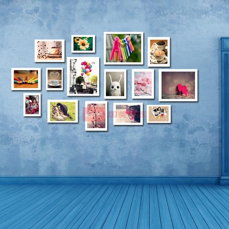 15框精美照片墙 欧式创意组合相框墙 婚纱照相片墙(新白色)