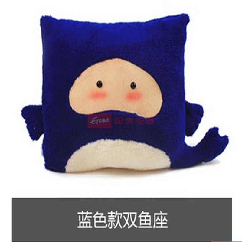 十二星座抱枕 创意玩偶 布娃娃 可爱公仔 巨蟹座午休生日礼物(蓝色1)