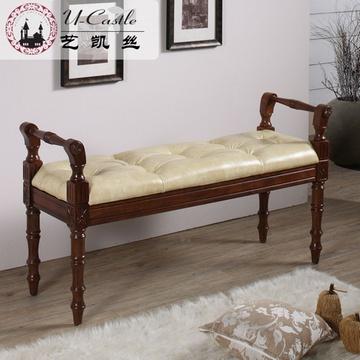 艺凯丝 欧式奢华仿古实木床尾凳 美式乡村卧室漆光水洗皮艺长凳子