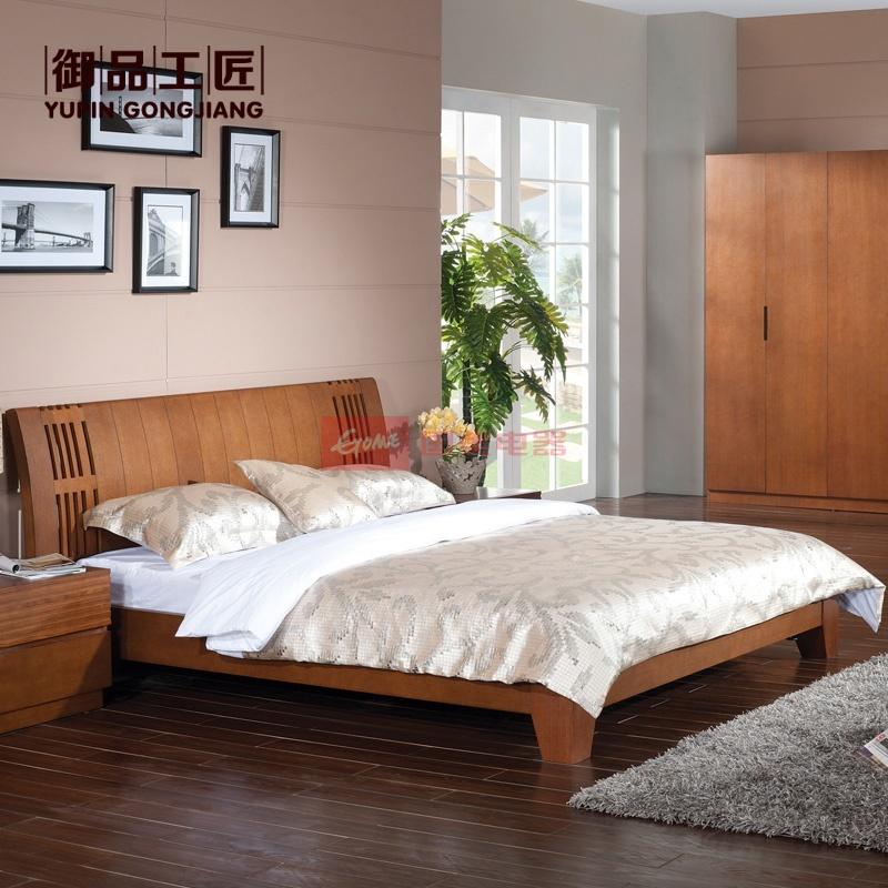 御品工匠 东南亚风格实木床 水曲柳 卧室实木双人床 1.8米大床 ka07