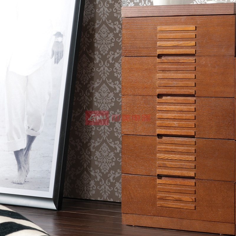 水曲柳实木斗柜 胡桃色储物柜
