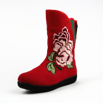 布鞋 2013秋冬绣花鞋民族风复古绣花靴女鞋平底防滑