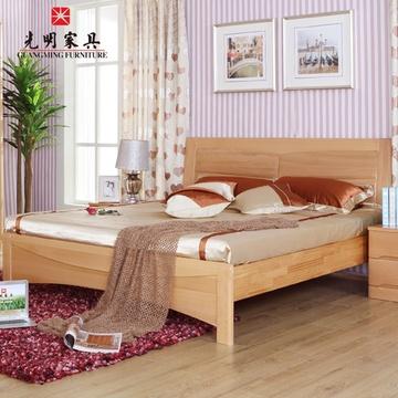 榉木床 双人床大床(实木双人床架子床)