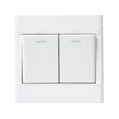 公牛 墙壁面板开关插座 双开单控 86型 g05k211y(带荧光开关)