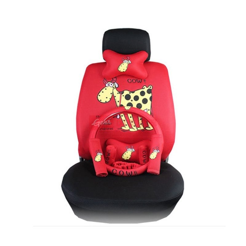 酷玛传奇夏季汽车座套卡通可爱四季通用新款汽车坐套18件(红色小牛)