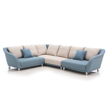 型客厅转角三人位布艺沙发 TS2313(右贵妃整套)-三人转角沙发价图片