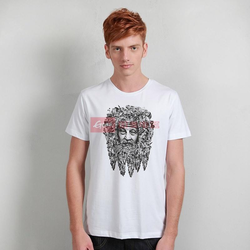 一伙人 原创设计3d立体人头男士t恤短袖 汽车老人印花