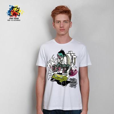 一伙人 原创设计涂鸦僵尸印花t恤 个性莱卡圆领男士短袖t恤(白色 xl)