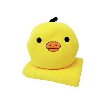 可爱 卡通 三合一 抱枕 手捂 空调毯 毛绒玩具(黄小鸡 抱枕展开1*1m)
