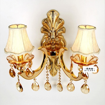 欧式客厅灯 奢华沙金色床头单头壁灯