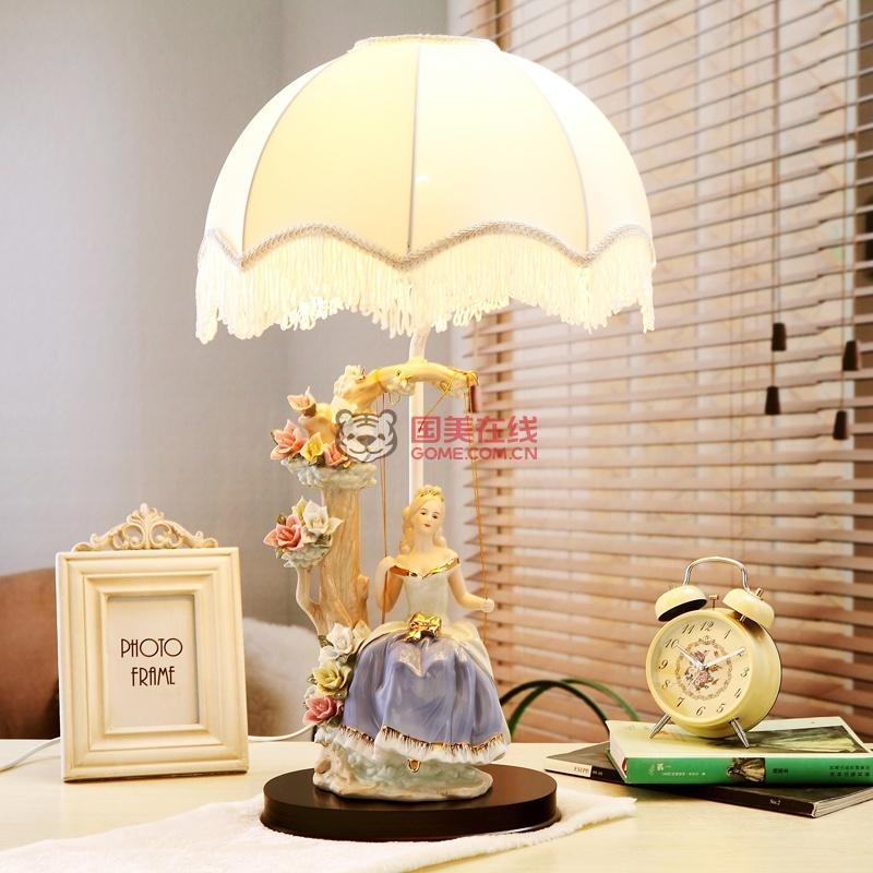 欧式花仙子卧室床头台灯婚庆创意公主田园台灯