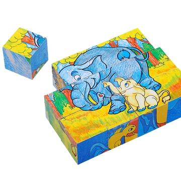 淘气郎 12粒方块动物认知立体积木拼图