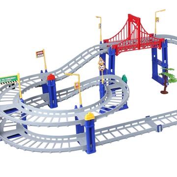 卡尔工程师超大电动儿童男孩玩具轨道车多层玩具 拼装火车托马斯小火车头(74件超大全长1米2)