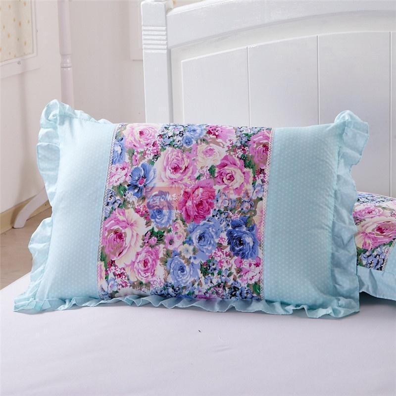 花语公主润肤棉枕套 韩式碎花斜纹枕头套枕罩花边 一对2只装(恋蔷薇