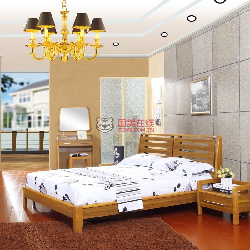派森家具 现代中式简约 实木框架胡桃木色双人床1.5米