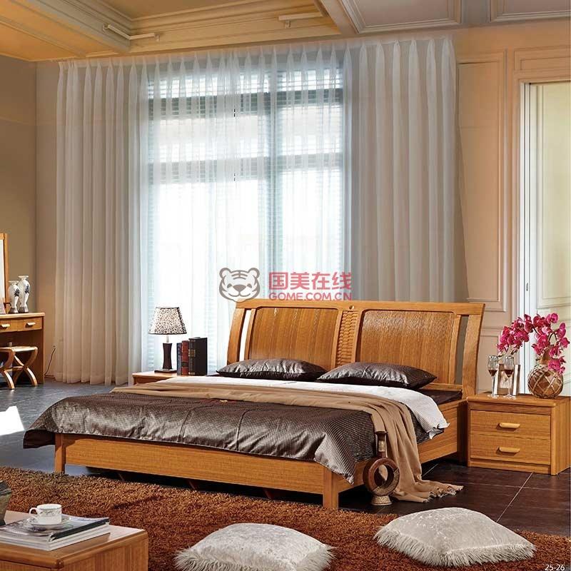 8米高档实木床 黄金柚木色新中式