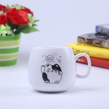 情侣杯 对杯 陶瓷杯子可爱黑白猫创意水杯(黑白配猫咪情侣对杯)