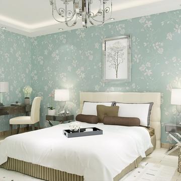 现代简约环保无纺布壁纸 卧室客厅满铺电视背景墙纸gmj-b(605蓝绿色)