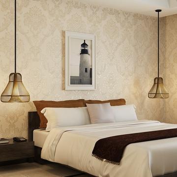 欧式高档无纺布壁纸 3d立体雕刻墙纸卧室客厅背景墙gmo-g(012奶咖色)