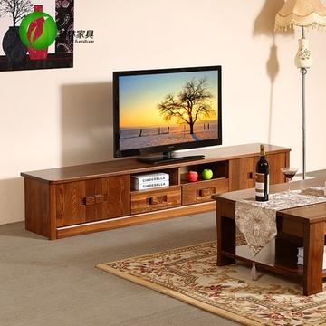 初林榆木中式实木电视柜
