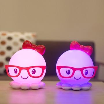 创意可爱眼镜八爪鱼灯 超大usb充电喂奶灯 婴儿卡通夜
