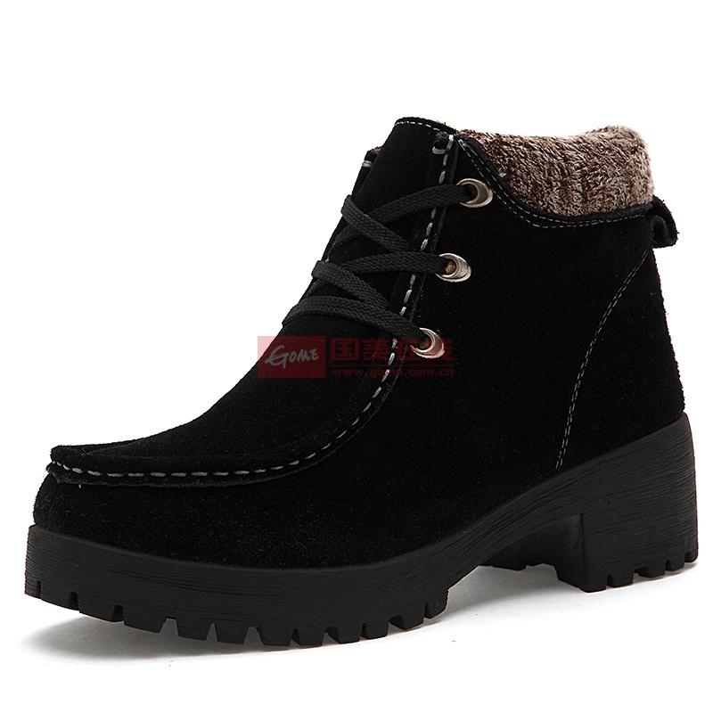 公羊冬季新款高幫加棉女鞋休閑鞋(黑色 38)