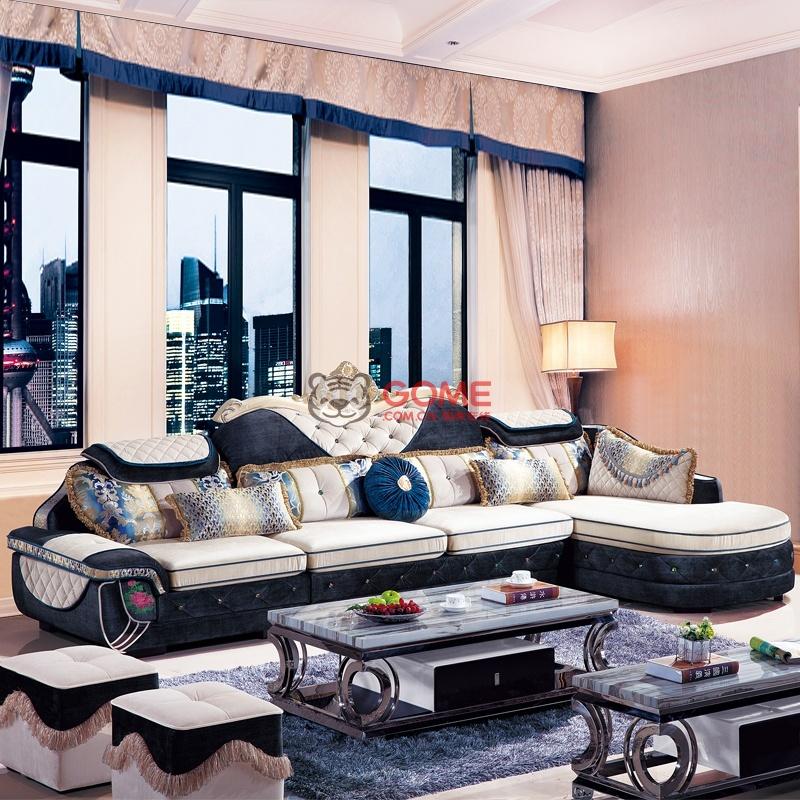 俏夫人 欧式新古典沙发客厅转角布艺沙发 欧式家具 222#(单人位 三人