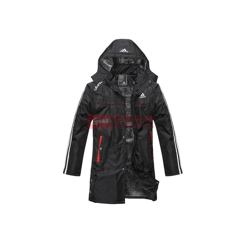 阿迪达斯棉服图片 新款男士加绒保暖运动棉衣阿迪达斯正品加长款加厚大衣