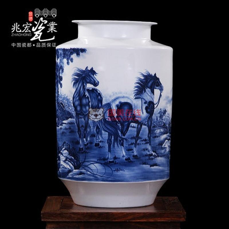 景德镇陶瓷器 张运来-马到成功 高档家居工艺摆件手绘