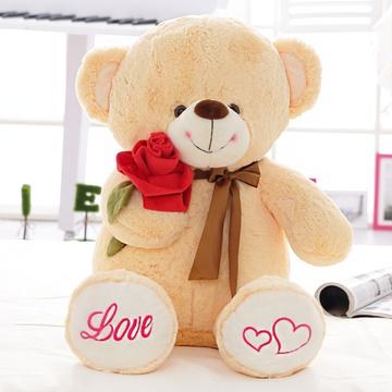 安吉宝贝可爱抱玫瑰花熊大号毛绒玩具布娃娃公仔