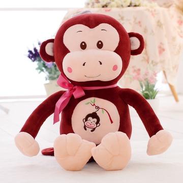 可爱嘻哈猴毛绒玩具猴子布娃娃玩偶公仔(酒红色呆萌