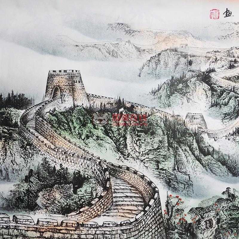 墨香阁 长城雄风 半手绘 四尺 水墨画 国画山水 书画