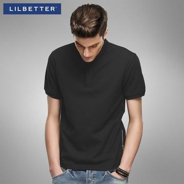 男�9il�l#�+_lilbetter黑色男士polo衫 拉链装饰简约保罗衫韩版翻领短袖t恤男(黑色