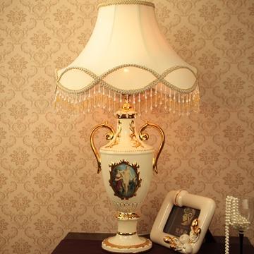 欧式台灯 台灯 陶瓷 卧室 床头 灯 创意 奢华 家居摆件 描金灯
