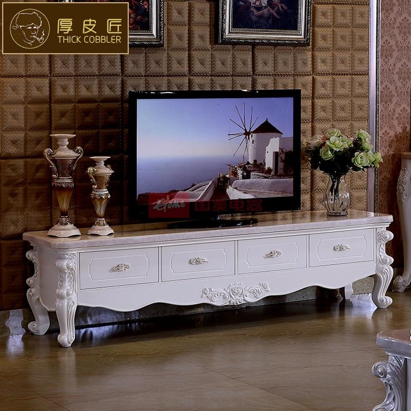 厚皮匠欧式大理石实木电视柜欧式高档电视柜象牙白(红龙玉石(天然)