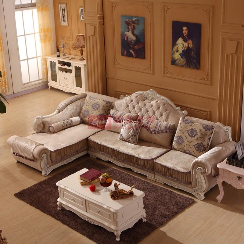 思巧欧式布艺沙发组合 小户型 简欧沙发 客厅 转角贵妃沙发j07(图片