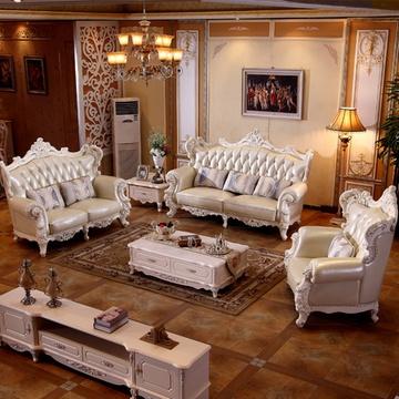 佳宜居 客厅奢华欧式实木皮沙发 美式大户型雕花客厅实木沙发组合 005图片