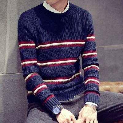 古莱登 英伦风时尚手织毛衫男士经典条纹休闲毛衣男韩版修身百搭针织图片