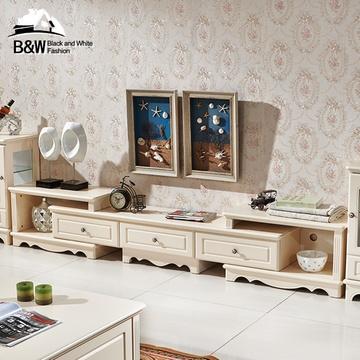黑白欧风尚现代简约欧式电视柜可伸缩地中海烤漆白色