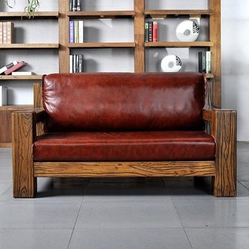 溪木工坊 老榆木沙发 客厅u型新中式实木沙发 组合家具转角全实木