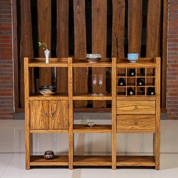 溪木工坊 北方老榆木酒柜 中式玄關隔斷柜餐邊柜客廳帶抽屜酒架